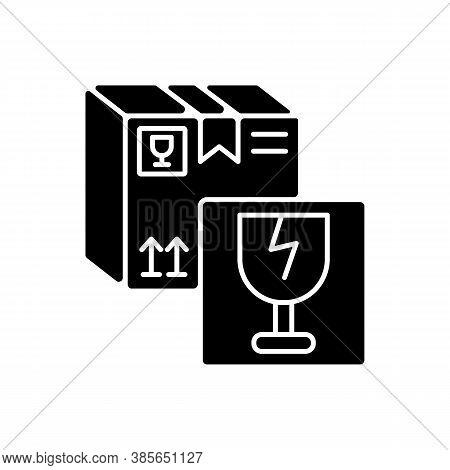 Fragile Items Black Glyph Icon. Breakable Box Content. Postal Service Silhouette Symbol On White Spa