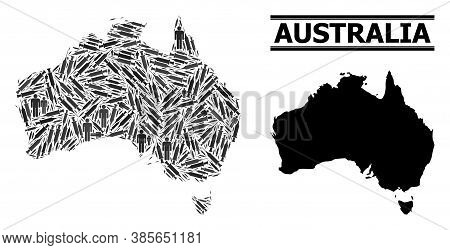 Vaccination Mosaic And Solid Map Of Australia. Vector Map Of Australia Is Created With Injection Nee