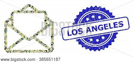 Military Camouflage Composition Of Open Letter, And Los Angeles Grunge Rosette Seal Print. Blue Seal