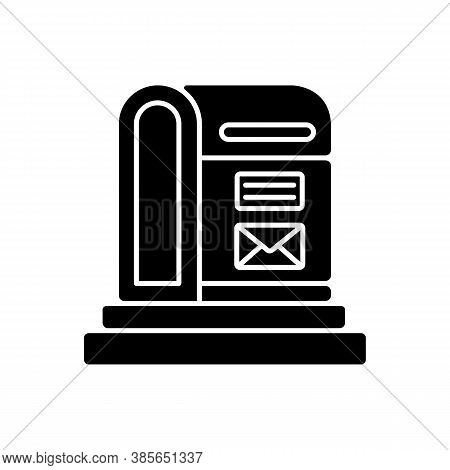 Parcel Post Black Glyph Icon. Public Postal Service Silhouette Symbol On White Space. Mail Transport