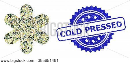 Military Camouflage Composition Of Simple Snowflake, And Cold Pressed Corroded Rosette Stamp Seal. B