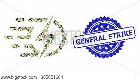 Military Camouflage Composition Of Electric Voltage, And General Strike Rubber Rosette Seal Imitatio