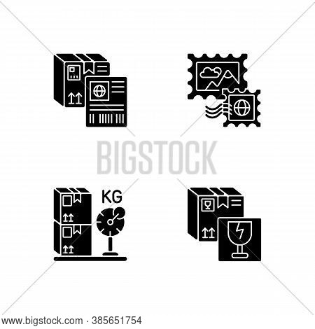 Postal Shipping Black Glyph Icons Set On White Space. Shipment Label, Postage Stamps, Cargo Weight A