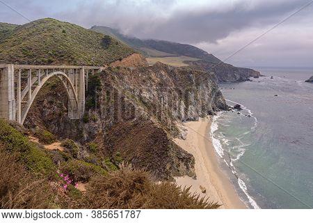 The California Coastline And The Bixby Creek Bridge.hwy 1.