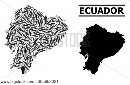 Vaccine Mosaic And Solid Map Of Ecuador. Vector Map Of Ecuador Is Done Of Vaccine Symbols And Men Fi