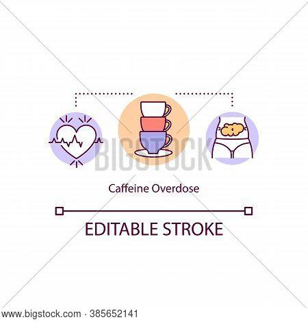 Caffeine Overdose Concept Icon. Side Effect. Irregular Heartbeat And Discomfort Upper Abdomen. Chest