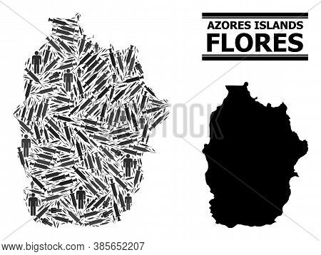Covid-2019 Treatment Mosaic And Solid Map Of Azores - Flores Island. Vector Map Of Azores - Flores I