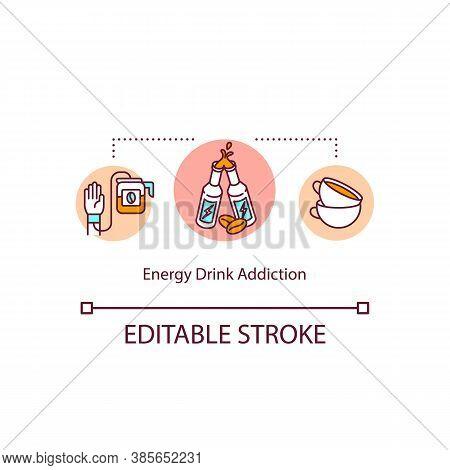 Energy Drinks Daily Addiction Concept Icon. Caffeine Overdose. Coffee Addict. Side Effect Idea Thin