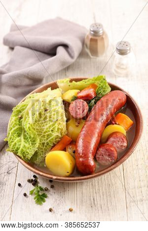 pot au feu-beef stew with cabbage, carrot, potato and broth