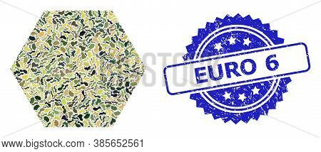 Military Camouflage Composition Of Filled Hexagon, And Euro 6 Corroded Rosette Seal Imitation. Blue