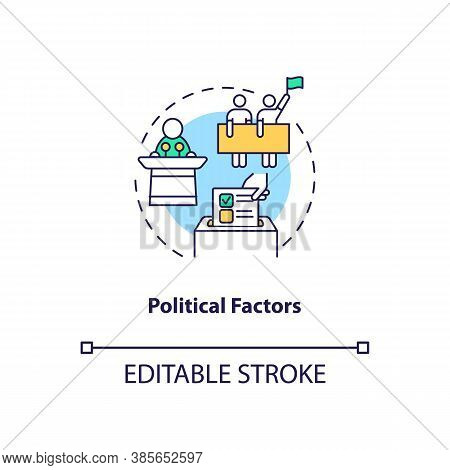 Political Factors Concept Icon. Pestel Analysis. Communication Issues. Politician Business Problems