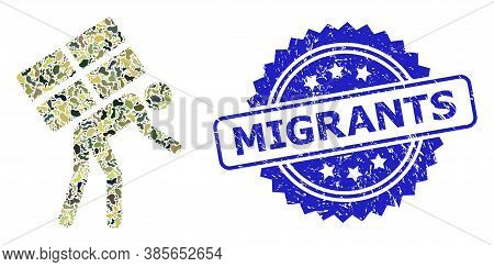 Military Camouflage Collage Of Refugee, And Migrants Grunge Rosette Stamp Seal. Blue Stamp Seal Has
