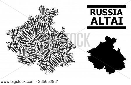 Syringe Mosaic And Solid Map Of Altai Republic. Vector Map Of Altai Republic Is Designed From Vaccin