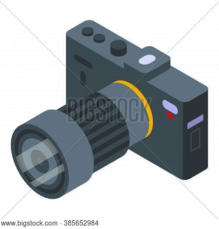 Dslr Camera Icon. Isometric Of Dslr Camera Vector Icon For Web Design Isolated On White Background