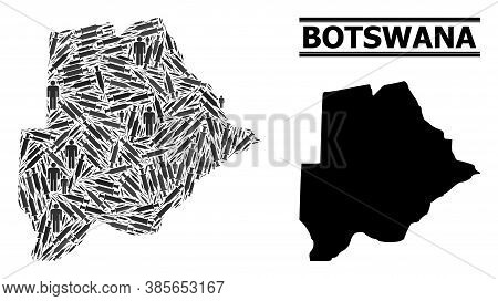 Virus Therapy Mosaic And Solid Map Of Botswana. Vector Map Of Botswana Is Created Of Vaccine Symbols