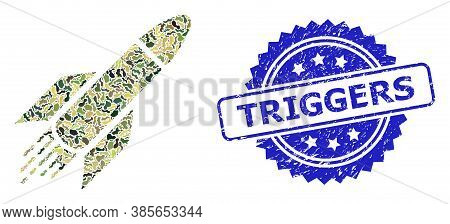 Military Camouflage Composition Of Rocket, And Triggers Unclean Rosette Stamp Seal. Blue Stamp Conta
