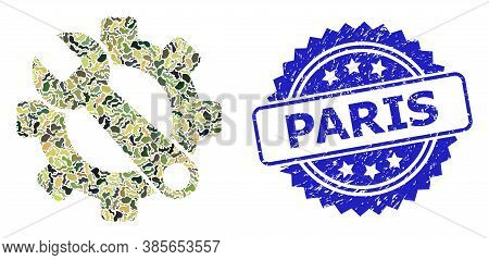 Military Camouflage Collage Of Service Tools, And Paris Unclean Rosette Seal Print. Blue Stamp Inclu