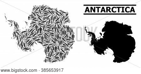 Covid-2019 Treatment Mosaic And Solid Map Of Antarctica. Vector Map Of Antarctica Is Composed Of Vac