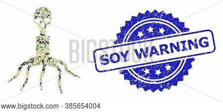 Military Camouflage Collage Of Death Virus, And Soy Warning Rubber Rosette Seal Print. Blue Seal Has