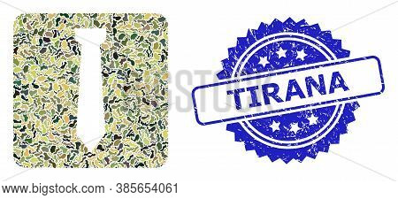 Military Camouflage Collage Of Tie, And Tirana Corroded Rosette Stamp Seal. Blue Stamp Seal Includes