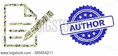 Military Camouflage Combination Of Edit Text Page, And Author Dirty Rosette Seal Print. Blue Stamp S