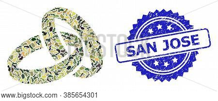 Military Camouflage Combination Of Wedding Rings, And San Jose Scratched Rosette Stamp Seal. Blue Se