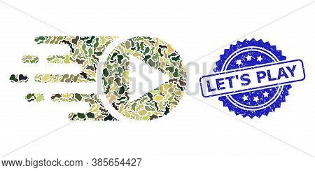 Military Camouflage Composition Of Start Play, And Lets Play Corroded Rosette Seal. Blue Stamp Seal