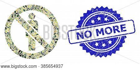 Military Camouflage Collage Of Forbidden Man, And No More Rubber Rosette Seal Imitation. Blue Seal C