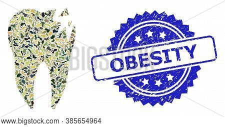 Military Camouflage Composition Of Cracked Tooth, And Obesity Rubber Rosette Seal. Blue Seal Contain