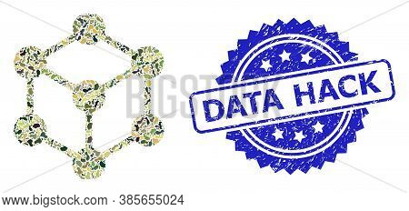 Military Camouflage Composition Of Cube Nodes, And Data Hack Textured Rosette Stamp. Blue Stamp Seal