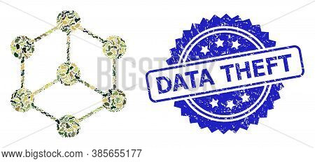 Military Camouflage Collage Of Isometric Cube, And Data Theft Grunge Rosette Stamp Seal. Blue Stamp