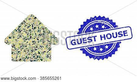 Military Camouflage Collage Of House, And Guest House Grunge Rosette Stamp Seal. Blue Stamp Seal Has