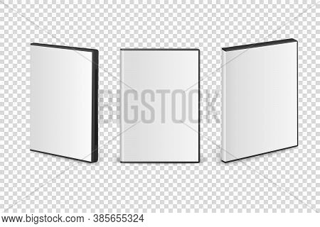 Vector 3d Realistic Cover Box For Cd, Dvd Set Closeup Isolated On Transparent Background. Design Tem