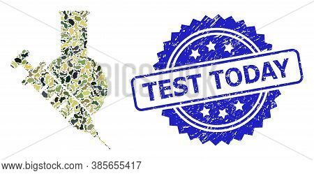Military Camouflage Collage Of Vaccine Labs, And Test Today Dirty Rosette Seal Imitation. Blue Seal