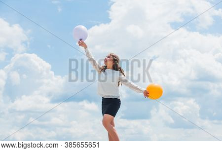 Play With Air. Cheerful Girl Have Fun. Summer Holidays And Vacation. Childhood Happiness. Joyful Tee