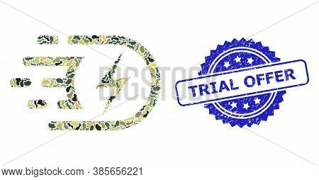 Military Camouflage Collage Of Electric Voltage, And Trial Offer Corroded Rosette Seal Print. Blue S