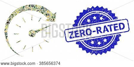 Military Camouflage Composition Of Time Forward, And Zero-rated Rubber Rosette Stamp Seal. Blue Stam