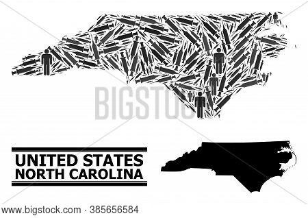 Syringe Mosaic And Solid Map Of North Carolina State. Vector Map Of North Carolina State Is Composed