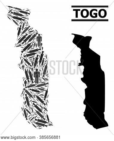 Covid-2019 Treatment Mosaic And Solid Map Of Togo. Vector Map Of Togo Is Formed With Inoculation Ico