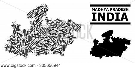 Virus Therapy Mosaic And Solid Map Of Madhya Pradesh State. Vector Map Of Madhya Pradesh State Is Ma