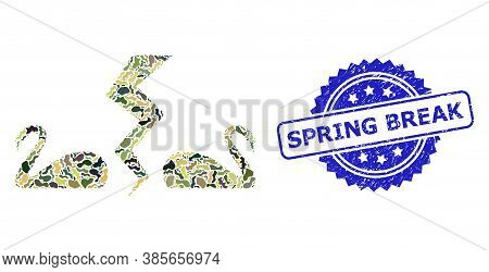 Military Camouflage Combination Of Divorce Swans, And Spring Break Grunge Rosette Watermark. Blue Se