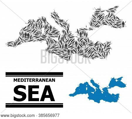 Vaccine Mosaic And Solid Map Of Mediterranean Sea. Vector Map Of Mediterranean Sea Is Designed From