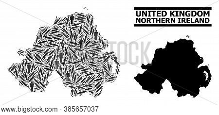 Covid-2019 Treatment Mosaic And Solid Map Of Northern Ireland. Vector Map Of Northern Ireland Is Des