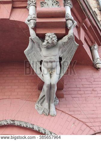 Here Is A Chimera Or Gargoyle On The Wall, Ukraine, Kiev