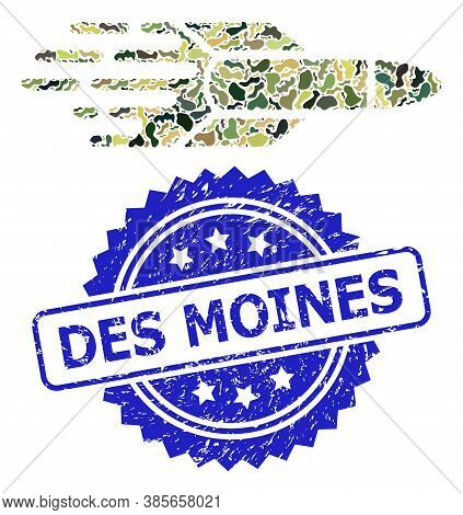 Military Camouflage Composition Of Missile, And Des Moines Unclean Rosette Stamp Seal. Blue Stamp Se