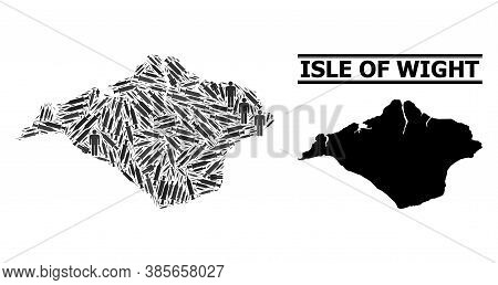 Vaccine Mosaic And Solid Map Of Isle Of Wight. Vector Map Of Isle Of Wight Is Done With Vaccine Symb