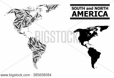 Syringe Mosaic And Solid Map Of South And North America. Vector Map Of South And North America Is De