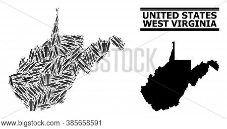 Vaccination Mosaic And Solid Map Of West Virginia State. Vector Map Of West Virginia State Is Compos