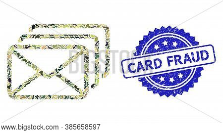 Military Camouflage Combination Of Mail Queue, And Card Fraud Grunge Rosette Seal Print. Blue Seal I