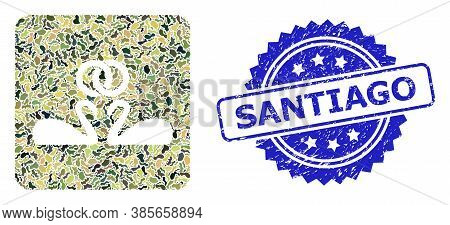 Military Camouflage Collage Of Wedding Swans, And Santiago Rubber Rosette Stamp Seal. Blue Stamp Sea